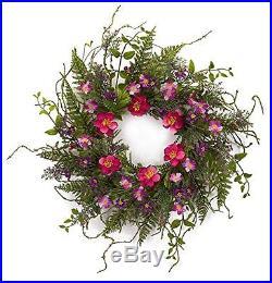 Melrose International Wild Flower Fern Wreath, 24