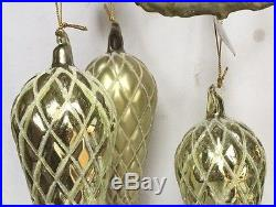 Melrose Set of 3 Pale Golden Green Glass Finial Pinecone Christmas Ornaments