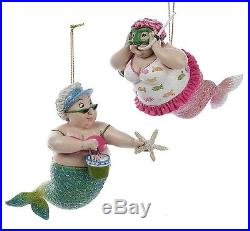 Mermaid Beach Girls Having Fun Christmas Holiday Ornaments Set of 2