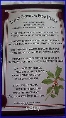Merry Christmas from heaven Family memorial burial bereavement gift ornament NIB