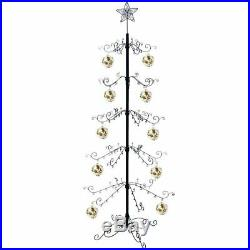 Metal Christmas Tree Artificial Ornament Display Stand 174 Hook 84H