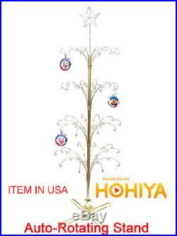 Metal Revolving Artificial 74 Christmas Ornament Display Tree in Golds