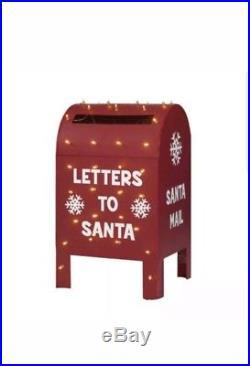 "Metallic Christmas Mailbox 32"" Lighted Santa Letters Outdoor Yard Decoration"