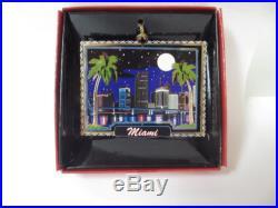 Miami City Skyline at Night Christmas ORNAMENT Palm Trees Florida Souvenir Gift