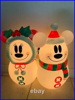 Mickey and Minnie Mouse Disney Lighted Blow Mold Snowman Christmas Decoration