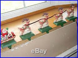 Midwest Cast Iron Stocking Hanger Holder Reindeer Santa Claus Sleigh Set Lot 5