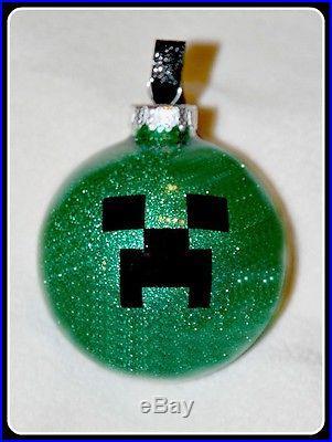 Minecraft Inspired Creeper Glitter Christmas Ornament