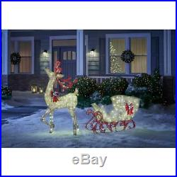 Misty Glimmer 5 Ft Gold Reindeer With 44 Sleigh Outdoor Christmas Holiday Decor