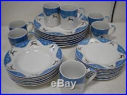 Montgomery Ward WINTERLIGHT REINDEER Christmas China Dinnerware Dish Set for 6