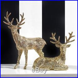 NEWRAZ Imports20 Rhinestone Gold DeerSet of 2ChristmasReindeerBest Seller