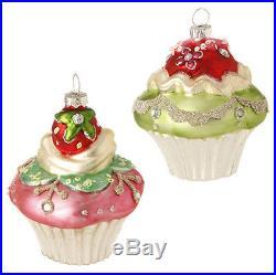 NEWRaz Cupcake & Candy Glass Christmas OrnamentSet of 2Tree/Wreath/Strawberry