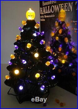 NEW 14 Mr Christmas Ceramic Haunted Black Halloween Tree Pumpkin LED Lighted