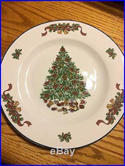 NEW 16-Piece Seasonal Holiday XMas Christmas Tree China Stoneware Dishes Set