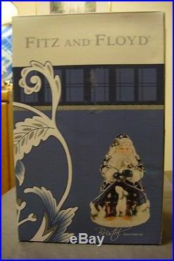 NEW 2015 Fitz & Floyd BRISTOL SANTA COOKIE JAR Woodland Animals Navy Blue