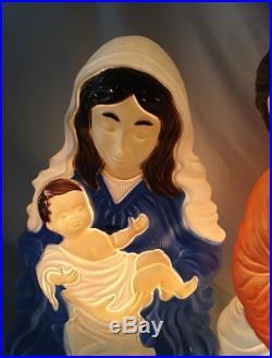 NEW 28 Lighted Outdoor Nativity Scene 2 Piece Set Blow Mold Christmas Decor