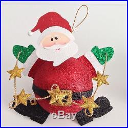 NEW 2 Christmas Tree Santa Snowman Glitter Ball Ornaments