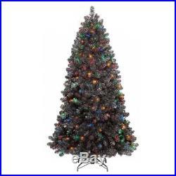 NEW 7ft Prelit Artificial Christmas Tinsel Tree Graphite Silver Alberta Spruce