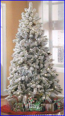 NEW ARTIFICIAL CHRISTMAS TREE 7.5′ Tall Winter Frost Flocked Pre-Lit Clear Light