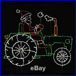 NEW Animated Santa on Tractor Christmas Outdoor LED Lighted Decoration Wireframe