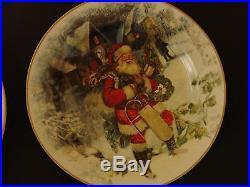 NEW CHRISTMAS Stoneware 4 Pottery Barn NOSTALGIC SANTA DINNER PLATES+ 4 SALAD