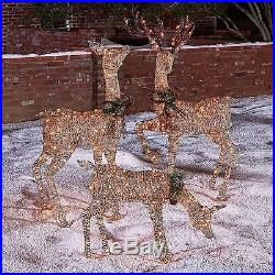 NEW Christmas 3-pc 490 Lights/Lighted Deer Buck Family Inddor/Outdoor Yard Decor