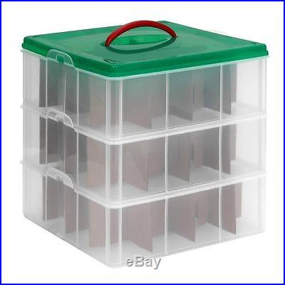 NEW Christmas Ornament Storage Organizer Stackable Adjustable Box Set of 3 Trays