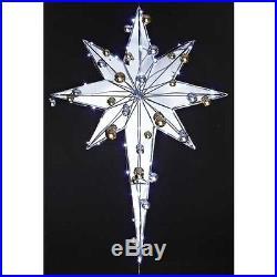 NEW Christmas STAR Roman Lights Yard Art 37 LED Metal Mirror Ornaments Gold