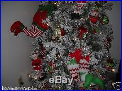 NEW Complete CHRISTMAS TREE DECOR. / ORNAMENTS SET With Elf Butts & Elf Head Topper