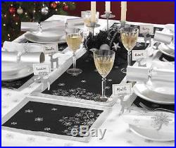 NEW Contemporary Black & Silver Christmas Snowflake Table Runner Decoration XMAS