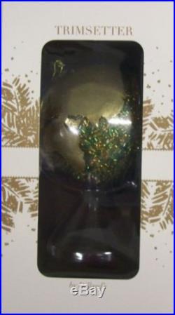 NEW Dillard's Trimsetter CHRISTMAS TREE ORNAMENT Glass Globe Green/Gold