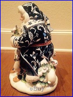 NEW Fitz & Floyd BRISTOL Christmas SANTA COOKIE JAR Woodland Animals Navy Blue