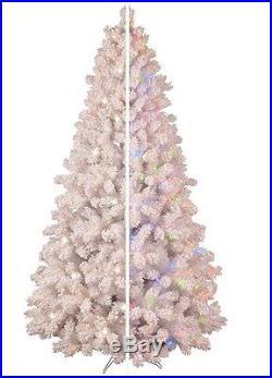 NEW GE 7.5′ PreLit FLOCKED Pine COLOR CHANGING White Christmas Tree LED Lights