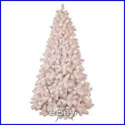 NEW GE 7.5' PreLit FLOCKED Pine COLOR CHANGING White Christmas Tree LED Lights