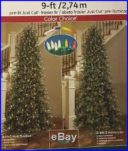 NEW GE 9 FT Just Cut Slim Frasier Fir DUAL Color Choice Lights Christmas Tree