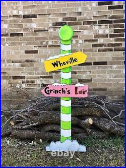 NEW GRINCH Whoville Sign Pole Green CHRISTMAS Lawn Yard Art Decoration Decor