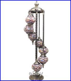 NEW HANDMADE TURKISH MOSAIC LAMP 7 Glass FLOOR TABLE BALL LIGHT CHRISTMAS GIFT