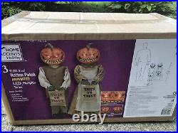 NEW Halloween Rotten Patch Animated Pumpkin Twins Porch Greeters, 3ft