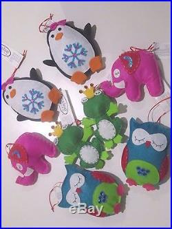 (NEW) Holiday Living Christmas Tree Ornaments Plush Soft animal (8 pcs)