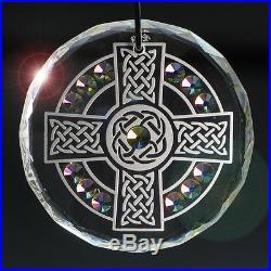 NEW Irish Celtic Cross Crystal Ornament Suncatcher with Swarovski Elements