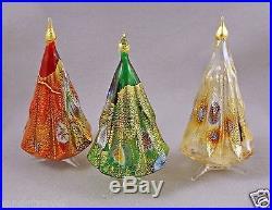 New Murano Millefiori Set Of 3 Christmas Tree Figurine Murrine Italian Art Glass