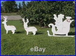 NEW Outdoor Santa Clause Sleigh Reindeer Christmas Yard Decor Display Silhouette