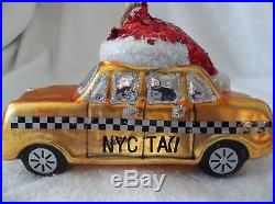 NEW POTTERY BARN NYC TAXI HOLIDAY GLASS ORNAMENT