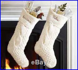New Pottery Barn Chunky Knit Stockings Stocking Ivory Set