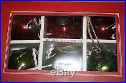 NEW Pottery Barn Christmas Mercury Glass Ball Ornaments Red Green Box Set 6