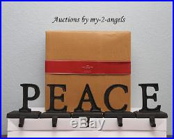 NEW Pottery Barn Christmas PEACE Word Stocking Holder Holders Hangers BRONZE