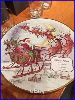 NEW Pottery Barn Nostalgic Santa Dinner Plates Set of 12 Christmas