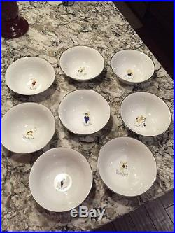 NEW Pottery Barn Reindeer Bowls Full Set of All 8! Holiday RAREGreat Gift