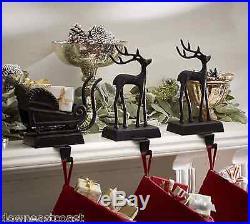 NEW Pottery Barn SANTA'S SLEIGH & REINDEER Deer Stocking Holders Holder SET 3