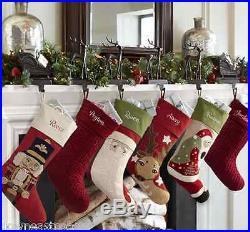 NEW Pottery Barn SANTA'S SLEIGH & REINDEER Deer Stocking Holders SET 5 Christmas