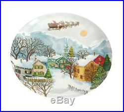 NEW Pottery Barn WINTER VILLAGE DINNER SALAD PLATES set of 16 NIB Christmas